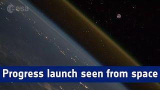 Progress launch timelapse seen from space